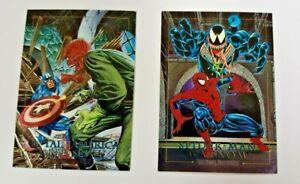 Spider-Man vs Venom & Capt Amer vs Red Skull 1992 Skybox Marvel Master 4-D Holo