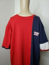 Tommy Hilfiger Tommy Jeans Men's Shirt Red White Blue Size Large Retro Vintage