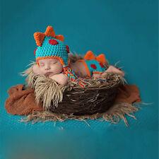 Baby Infant Newborn Dragon Knit Costume Photography Prop Crochet Hat Diaper Set
