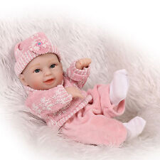 Reborn Baby Doll Hard Silicone 11in. 28cm Waterproof Toy Pink Wool Girl