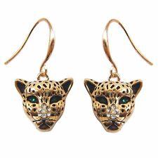 18K GP Cheetah Leopard Head Rhinestone Crystal Earrings Ear Nail E1384