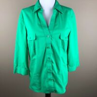 Chico's Women's 3/4 Sleeve Top Blouse Size M(8) Chico's 1 Green, V-neck, Collar
