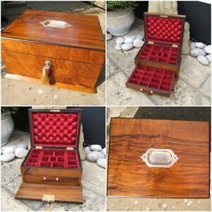 ANTIQUE 19c JEWELLERY/VANITY BOX - FIGURED WALNUT - WONDERFUL INTERIOR