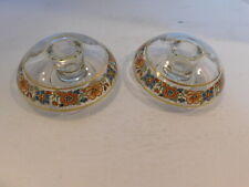 Set of 2 Clear Glass w/ Multi-Colored Flowers & Gold Trim Candle Holders