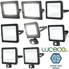 Luceco Eco Slimline LED Floodlight 10-100 Watt IP65 4000K PIR NON-PIR Black