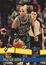 TAJ GIBSON CHICAGO BULLS SIGNED 2010-11 DONRUSS BASKETBALL CARD USC TROJANS