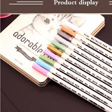 10Pcs Color Metallic Fine Pen Pencil Marker DIY Album Dauber Pen Set Waterproof