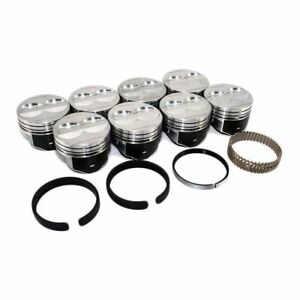 SPEED PRO Chevy 350 Hypereutectic Flat Top Pistons+MOLY Rings+LR Lock Rings STD