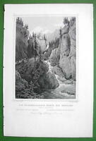 SWITZERLAND Rhine River Tunnel of the Rofflen - 1853 Antique Print