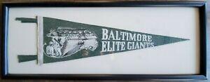 1940's Baltimore Elite Giants Negro League Baseball Pennant Mid Size Framed