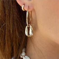 2019 New Fashion Women Gold Metal Shell Pendant Statement Drop Earrings Jewelry