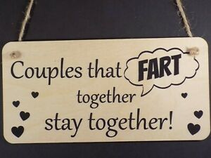 Funny Couples Fart Sign - Husband wife wooden plaque gift love friends present