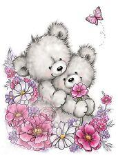 Bear Hugs Spring Flowers Unmounted Rubber Stamp Wild Rose Studio #CL485 New