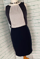 NEXT Navy Blue Polka Dot Smart Straight Dress Sz 12 UK Work / b23