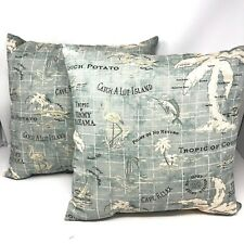 "2 18"" Tommy Bahama Outdoor Island Decorative Throw Pillows Swordfish Flamingos"