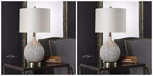 """PAIR XXL 27"""" GOURD SHAPED TEXTURED AGED CERAMIC ACCENT TABLE LAMP UTTERMOST"""