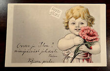 FLOWER CHILDREN Blumenkinder ROTE NELKE Child Holding Red Carnation Postcard '02