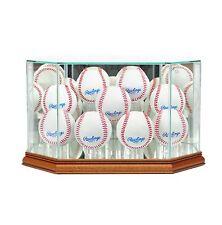 New 9 Ball Baseball Display Case MLB Glass & Mirror Walnut Molding FREE SHIPPING