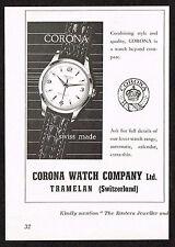 1950s Vintage 1957 Corona Swiss Watch Print Ad