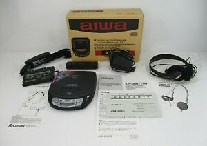 AIWA XP-500 Compact Disc Player, Headphones and Cassette Adapter with Box
