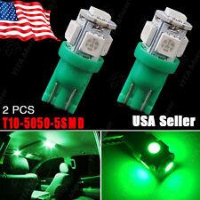 2X Vivid Green T10 Wedge 5050 5-SMD 168 194 2825 W5W License Interior Light