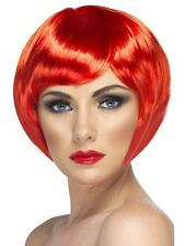 NEON RED SHORT 1920s 20s BOB WIG PARTING Fancy Dress Costume Accessory 42055