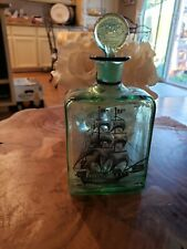 Painted/Sikscreen Green Glass Nautical Pirate Decanter Moonshine Ship Man Cave