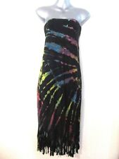 NEW Tie Dyed Strapless Dress OR Extra Long Skirt Stretch Fabric Tassels OS