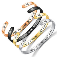 Inspirational Bracelets Engraved Personalized Encouragement Mantra Cuff Bangle