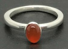 Solid Sterling Silver Carnelian stacking ring UK size O 1/2, new. UK Seller.