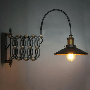 Steampunk Wall Sconce Lamp Extension Scissor Arm Loft Wall Mount Light Black
