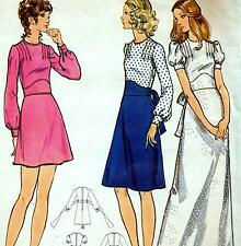 "Vintage 70s MIDRIFF DRESS Sewing Pattern Bust 36"" Size 12 RETRO Evening MAXI"