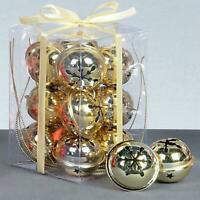 Christmas Decoration 12 Pack Snowflake 40mm Jingle Bell Baubles - Gold