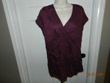 Axcess Woman's Top - Purple Plum Crinkle look- Size XL