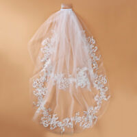 Women White Wedding Veil Two-Layer Tulle Mesh Elbow Length Bridal Decor Q