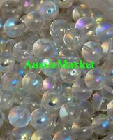 50 x glass beads clear AB colour round 8mm loose spacer craft jewellery making
