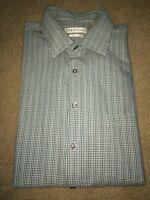 Mens Long SL Dress Shirt Van Heusen Regular Fit 17 32/33 Blue Green Micro Plaid