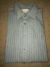 Mens Long SL Dress Shirt Van Heusen Regular Fit 17 32/33 Blue Green Micro Plaid