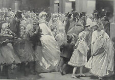1889 Two Large Antique Prints - Child Actors in Pantomine & After the Pantomime