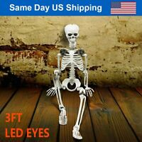 3FT Halloween Hanging Posable Skeleton w/ Sound Activated LED Glowing Eyes