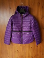 RRP £315 - STEFANEL Designer QUILTED COAT Dark Purple Jacket XS / UK 4 / 32 NEW
