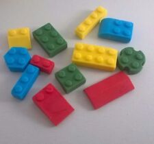 96 Edible Sugarpaste Lego Bricks Cupcake/Birthday Cake Toppers- BOYS - Colourful
