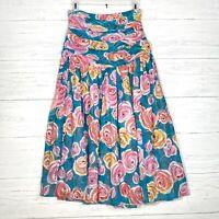 VTG Oscar de la Renta Miss O Bright Floral Midi Skirt Ruched Draped Waist Sz 6