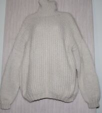 Hand Knitted Ivory Mohair Soft  Warm Turtleneck Heavy Unisex Sweater Size:M-XL