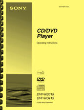 Sony DVP-NS315 DVP-NS415 CD DVD Player OWNER'S OPERATING INSTRUCTIONS MANUAL