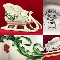 FTD Ceramic Christmas Holiday Sleigh Centerpiece Planter Candy Dish Bowl A++
