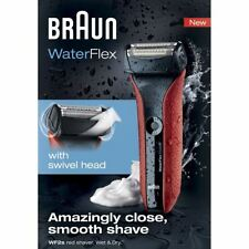 Braun WF2S WaterFlex Men's Electric Shaver Cordless Beard Trimmer Wet/Dry - Red