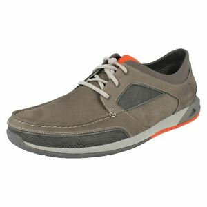 MENS CLARKS ORMAND SAIL LACE UP LEATHER CASUAL SPORTS MOCCASIN BOAT SHOES SIZE