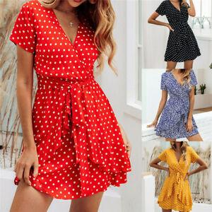 Women Boho Polka Dot V Neck Mini Dress Ladies Beach Causal Short Sleeve Sundress