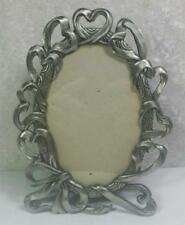 "Pewter Ribbons Frame Photo Size 3.25"" x 5"" Hearts Feminine Love Romance Shabby"